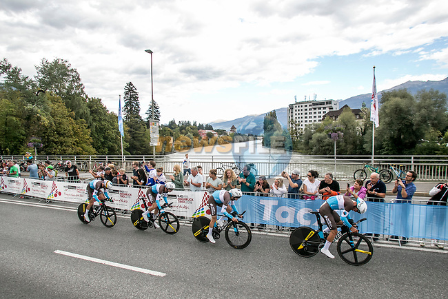 AG2R La Mondiale in action during the Men's Elite Team Time Trial of the 2018 UCI Road World Championships running 62.8km from Ötztal to Innsbruck, Innsbruck-Tirol, Austria 2018. 23rd September 2018.<br /> Picture: Innsbruck-Tirol 2018/Jan Hetfleisch | Cyclefile<br /> <br /> <br /> All photos usage must carry mandatory copyright credit (© Cyclefile | Innsbruck-Tirol 2018/Jan Hetfleisch)