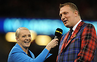 George 'Doddie' Weir is interviewed prior to kick off <br /> <br /> Photographer Ian Cook/CameraSport<br /> <br /> Under Armour Series Autumn Internationals - Wales v Scotland - Saturday 3rd November 2018 - Principality Stadium - Cardiff<br /> <br /> World Copyright &copy; 2018 CameraSport. All rights reserved. 43 Linden Ave. Countesthorpe. Leicester. England. LE8 5PG - Tel: +44 (0) 116 277 4147 - admin@camerasport.com - www.camerasport.com