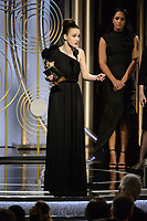 Rachel Brosnahan accepts the Golden Globe Award for BEST PERFORMANCE BY AN ACTRESS IN A TELEVISION SERIES &ndash; COMEDY OR MUSICAL for her role in &quot;The Marvelous Mrs. Maisel&quot; at the 75th Annual Golden Globe Awards at the Beverly Hilton in Beverly Hills, CA on Sunday, January 7, 2018.<br /> *Editorial Use Only*<br /> CAP/PLF/HFPA<br /> &copy;HFPA/PLF/Capital Pictures