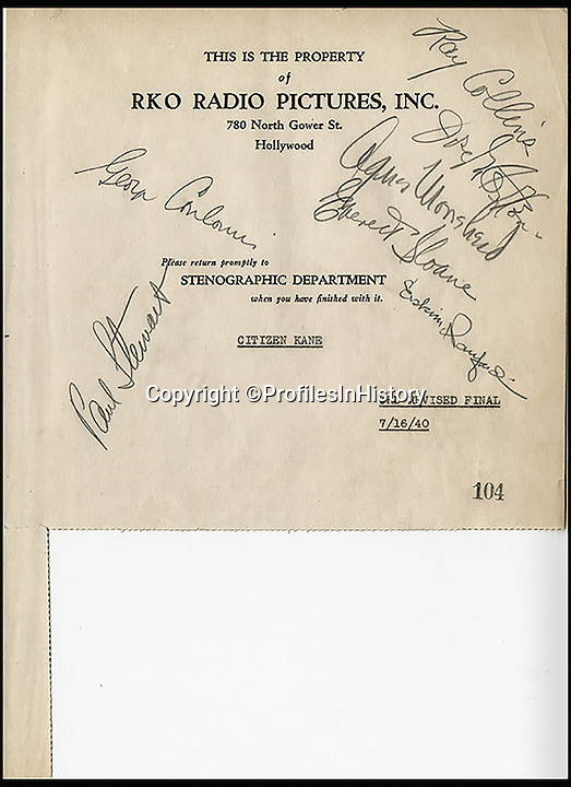 BNPS.co.uk (01202 558833)Pic: ProfilesInHistory/BNPS<br /> <br /> Legendary film director Orson Welles' personal script for his cult classic Citizen Kane has sold for £30,000 as part of a £100,000 sale of movie memorabilia.<br /> <br /> Collectors had feared the annotated document, the third and final revision of the 1941 film, was lost forever because it had not been seen in 74 years. <br /> <br /> But they were amazed when it emerged at auction being sold by a consignor who was given it directly by Welles when filming finished.<br /> <br /> The 156-page script was snapped up by a private collector for $45,000 - around £30,000 - at the sale held by Profiles in History in Calabasas, California, yesterday (Tues).
