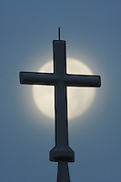 Cross and Full Moon, North Carolina, USA