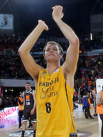 Herbalife Gran Canaria's Brad Newley celebrates the victory after Spanish Basketball King's Cup match.February 07,2013. (ALTERPHOTOS/Acero) /NortePhoto