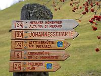 Italien, Suedtirol, Vinschgau, Pfossental, Wegweiser zum Meraner Hoehenweg   Italy, South Tyrol, Alto Adige, Val di Fossa, sign post