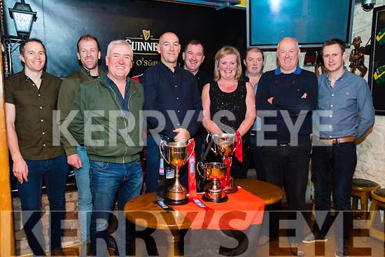 Celebrating the launch of the DVD of the journey to Croke Park for Junior All-Ireland Champions Glenbeigh/Glencar <br /> from L-R: Micheal Walsh. Peter O'Sullivan, Michael O'Connor, Aidan Roche,Timmy O'Sullivan, Mary O'Connor, Seanie Barton, Peadar O'Sullivan &amp; Anthony Griffin.