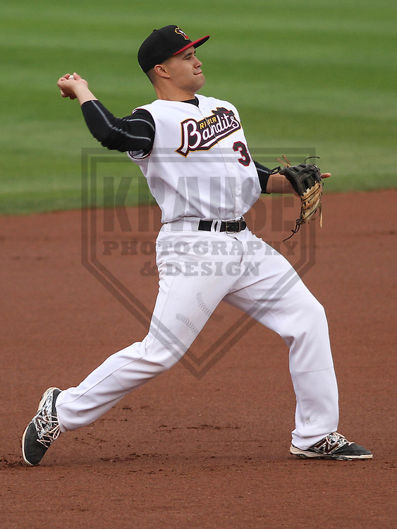 DAVENPORT - May 2015: Quad Cities River Bandits infielder Nick Tanielu (30) during a Midwest League game against the Wisconsin Timber Rattlers on May 8th, 2015 at Modern Woodmen Park in Davenport, Iowa.  Quad Cities defeated Wisconsin 11-6.  (Brad Krause/Krause Sports Photography)