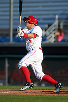 Auburn Doubledays third baseman Paul Panaccione (9) at bat during a game against the Williamsport Crosscutters on June 26, 2016 at Falcon Park in Auburn, New York.  Auburn defeated Williamsport 3-1.  (Mike Janes/Four Seam Images)