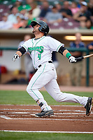 Dayton Dragons third baseman John Sansone (4) follows through on a swing during a game against the Cedar Rapids Kernels on May 10, 2017 at Fifth Third Field in Dayton, Ohio.  Cedar Rapids defeated Dayton 6-5 in ten innings.  (Mike Janes/Four Seam Images)