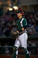 Fort Wayne TinCaps catcher Blake Hunt (12) during a Midwest League game against the Quad Cities River Bandits at Parkview Field on May 3, 2019 in Fort Wayne, Indiana. Quad Cities defeated Fort Wayne 4-3. (Zachary Lucy/Four Seam Images)
