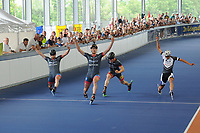 INLINESKATEN: HEERENVEEN: 03-0602017, Sportstad Heerenveen, overdekte Inlinehal, v.ln.r. Michel Mulder, Ronald Muder, Rémon Kwant, Rick Schipper, ©foto Martin de Jong