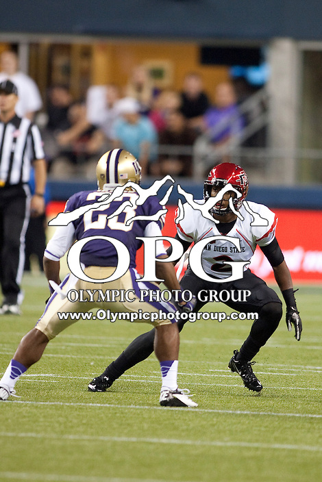 Sept 01, 2012:  San Diego State's #2 Leon McFadden against Washington.  Washington defeated San Diego State 21-12 at CenturyLink Field in Seattle, Washington...