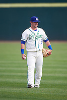 Hartford Yard Goats second baseman Zach Osborne (5) during warmups before the first game of a doubleheader against the Trenton Thunder on June 1, 2016 at Sen. Thomas J. Dodd Memorial Stadium in Norwich, Connecticut.  Trenton defeated Hartford 4-2.  (Mike Janes/Four Seam Images)