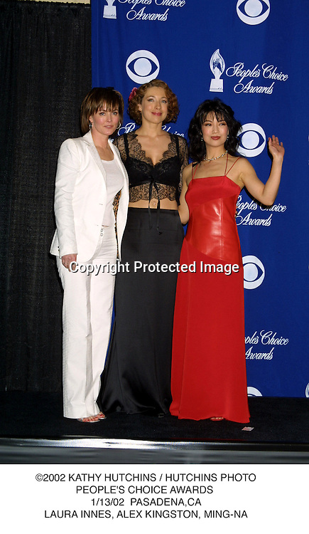 ©2002 KATHY HUTCHINS / HUTCHINS PHOTO.PEOPLE'S CHOICE AWARDS .1/13/02  PASADENA,CA.LAURA INNES, ALEX KINGSTON, MING-NA