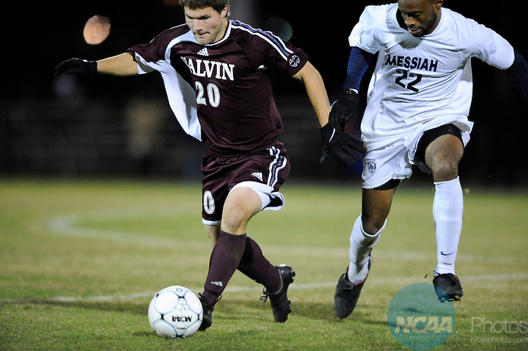 05 DEC 2009:  Calvin Todd (22) of Messiah College battles Scott Hooker (20) of Calvin College during the Division III Men's Soccer Championship held at Blossom Soccer Stadium hosted by Trinity University in San Antonio, TX. Messiah defeated Calvin 2-0 for the national title.  Brett Wilhelm/NCAA Photos