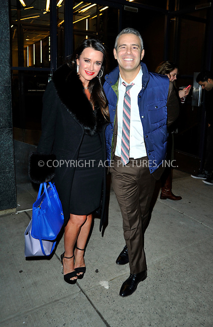 WWW.ACEPIXS.COM<br /> <br /> January 20 2015, New York City<br /> <br /> Kyle Richards (L) and Andy Cohen made an appearance at 'Watch What Happens Live' on January 20 2015 in New York City.<br /> <br /> <br /> Please byline: Curtis Means/ACE Pictures<br /> <br /> ACE Pictures, Inc.<br /> www.acepixs.com, Email: info@acepixs.com<br /> Tel: 646 769 0430