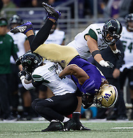 Hunter Bryant gets upended after a first down gain.