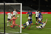 30th July 2020; Craven Cottage, London, England; English Championship Football Playoff Semi Final Second Leg, Fulham versus Cardiff City; Marek Rodak of Fulham saves the goalbound shot from Nathaniel Mendez-Laing of Cardiff City
