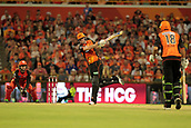 8th January 2018, The WACA, Perth, Australia; Australian Big Bash Cricket, Perth Scorchers versus Melbourne Renegades; Ashton Turner of the Perth Scorchers dances down the wicket during his innings of 70