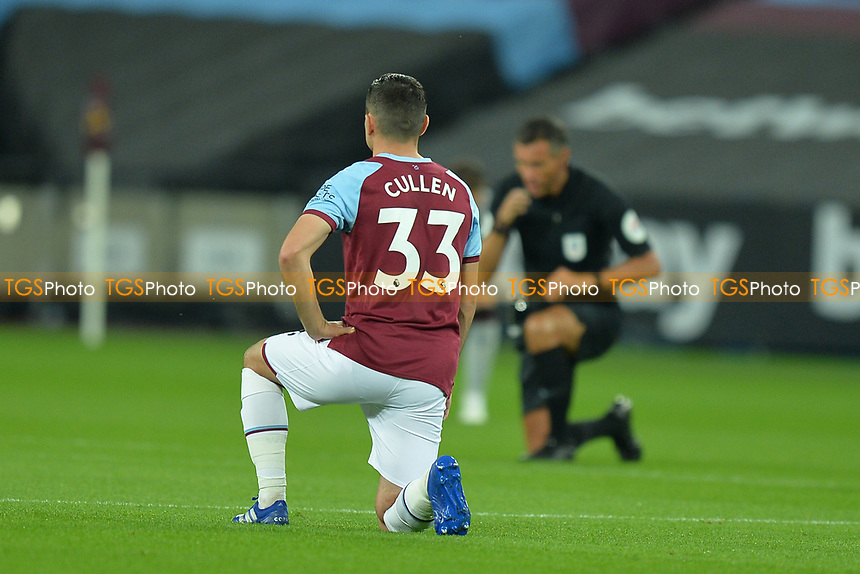 Josh Cullen of West Ham United black lives matter during West Ham United vs Charlton Athletic, Caraboa Cup Football at The London Stadium on 15th September 2020