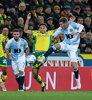 Blackburn Rovers' Joe Rothwell (right) battles with Norwich City's Jamal Lewis (centre)<br /> <br /> Photographer David Horton/CameraSport<br /> <br /> The EFL Sky Bet Championship - Norwich City v Blackburn Rovers - Saturday 27th April 2019 - Carrow Road - Norwich<br /> <br /> World Copyright © 2019 CameraSport. All rights reserved. 43 Linden Ave. Countesthorpe. Leicester. England. LE8 5PG - Tel: +44 (0) 116 277 4147 - admin@camerasport.com - www.camerasport.com