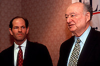 NYS Attorney General Democratic candidate Eliot Spitzer (L) is endorsed by former NYC Mayor Edward I. Koch (R) during a news conference at the Democratic State Convention on May 5, 1998. (© Frances M. Roberts)