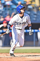 Asheville Tourists second baseman Forrest Wall (7) swings at a pitch during game one of a double header against the Hickory Crawdads on April 21, 2015 in Asheville, North Carolina. The Crawdads defeated the Tourists 10-1. (Tony Farlow/Four Seam Images)