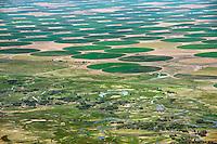 Monte Vista, Colorado.  Rio Grande River and crops fields. June 2013