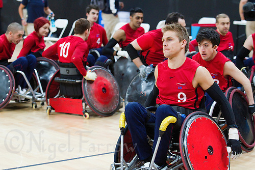 18 APR 2012 - LONDON, GBR - Great Britain captain Steve Brown (#9, at front) leads his team from the court after their victory over Canada during the London International Invitational Wheelchair Rugby Tournament match at the Olympic Park Basketball Arena in Stratford, London, Great Britain (PHOTO (C) 2012 NIGEL FARROW)