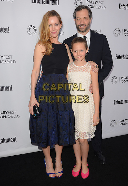 10 March 2014 - Beverly Hills, California - Leslie Mann, Judd Apatow, Iris Apatow.  Judd Apatow receives the 2014 Paleyfest Icon Award at The Paley Center for Media in Beverly Hills. <br /> CAP/ADM/BT<br /> &copy;Birdie Thompson/AdMedia/Capital Pictures