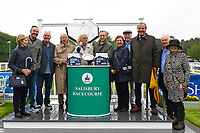 Connections of Ascension receive their cheque for winning The British EBF Molson Coors Novice Stakes Div 1 during Horse Racing at Salisbury Racecourse on 14th August 2019