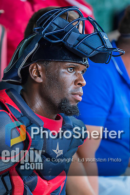 30 July 2016: Brooklyn Cyclones catcher Darryl Knight sits in the dugout during a game against the Vermont Lake Monsters at Centennial Field in Burlington, Vermont. The Lake Monsters defeated the Cyclones 7-1 in NY Penn League play. Mandatory Credit: Ed Wolfstein Photo *** RAW (NEF) Image File Available ***