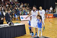 Damien Ekenasio celebrates winning the national basketball league final Hawks v Saints at TSB Bank Arena, Wellington, New Zealand on Saturday 5 July 2014. <br /> Photo by Masanori Udagawa. <br /> www.photowellington.photoshelter.com.