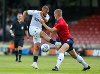 Leeds United's Kemar Roofe sees his shot blocked by York City's Kieran Green<br /> <br /> Photographer Alex Dodd/CameraSport<br /> <br /> Football Pre-Season Friendly - York City v Leeds United - Wednesday 10th July 2019 - Bootham Crescent - York<br /> <br /> World Copyright © 2019 CameraSport. All rights reserved. 43 Linden Ave. Countesthorpe. Leicester. England. LE8 5PG - Tel: +44 (0) 116 277 4147 - admin@camerasport.com - www.camerasport.com