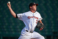 Rochester Red Wings pitcher Alex Meyer (32) delivers a pitch during a game against the Indianapolis Indians on June 10, 2015 at Frontier Field in Rochester, New York.  Indianapolis defeated Rochester 5-3.  (Mike Janes/Four Seam Images)