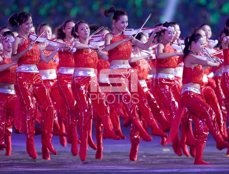 "Dancers perform in a section entitled ""Football and Music"" during  the opening ceremonies for the FIFA Women's World Cup China 2007 at Hongkou Stadium in Shanghai, China on September 10, 2007."