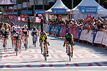 Giorgia Bronzini (ITA) Cylance Pro Cycling out sprints Sarah Roy (AUS) Mitchelton-Scott to win Stage 2 of the Madrid Challenge by La Vuelta 2018, running 98.6km around the streets of Madrid, Spain. 16th September 2018.                   <br /> Picture: Unipublic/Vicent Bosch | Cyclefile<br /> <br /> <br /> All photos usage must carry mandatory copyright credit (&copy; Cyclefile | Unipublic/Vicent Bosch)