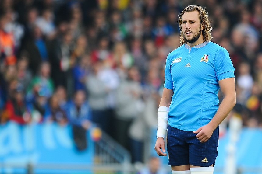 Italy's Joshua Furno in action during todays match<br /> <br /> Photographer Craig Thomas/CameraSport<br /> <br /> Rugby Union - 2015 Rugby World Cup Pool D - Italy v Romania - Sunday 11th October 2015 - Sandy Park, Exeter <br /> <br /> &copy; CameraSport - 43 Linden Ave. Countesthorpe. Leicester. England. LE8 5PG - Tel: +44 (0) 116 277 4147 - admin@camerasport.com - www.camerasport.com