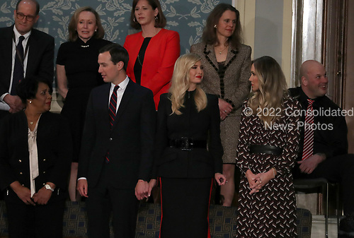 Senior Advisor Jared Kushner, First Daughter and Advisor to the President Ivanka Trump, and Lara Trump stand in the gallery prior to the arrival of First lady Melania Trump in anticipation of United States President Donald J. Trump delivering his second annual State of the Union Address to a joint session of the US Congress in the US Capitol in Washington, DC on Tuesday, February 5, 2019.<br /> Credit: Alex Edelman / CNP