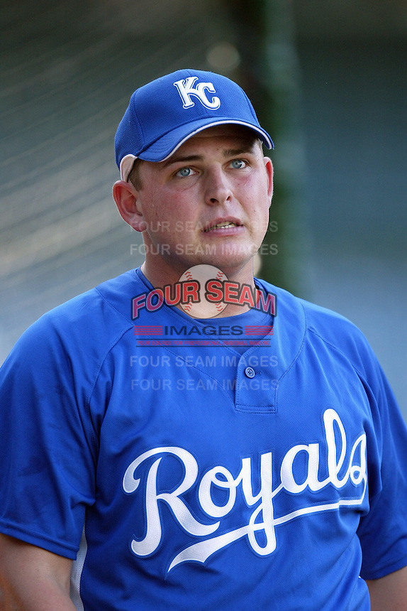 Billy Butler of the Kansas City Royals during batting practice before a game against the Los Angeles Angels in a 2007 MLB season game at Angel Stadium in Anaheim, California. (Larry Goren/Four Seam Images)