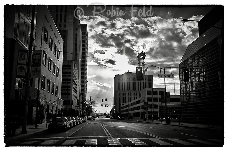 Street view of Third St. west view with dramatic sky in Dayton Ohio