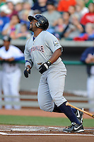 Huntsville Stars third baseman Jason Rogers #7 swings at a pitch during a game against Tennessee Smokies at Smokies Park on April 25, 2014 in Kodak, Tennessee. The Stars defeated the Smokies 15-1. (Tony Farlow/Four Seam Images)