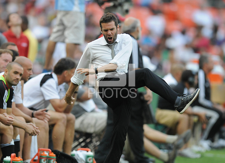 DC United head coach Ben Olsen show his discontent after Houston Dynamo Brian Ching score the goal to tied the game.   Houston Dynamo tied DC United 2-2, at RFK Stadium, Saturday June 25, 2011.