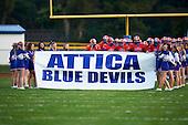 Alexander Trojans varsity football against the Attica Blue Devils during a Genesee Region League regular season game at Attica High School on September 21, 2012 in Attica, New York. Attica defeated Alexander 39-6. (Copyright Mike Janes Photography)