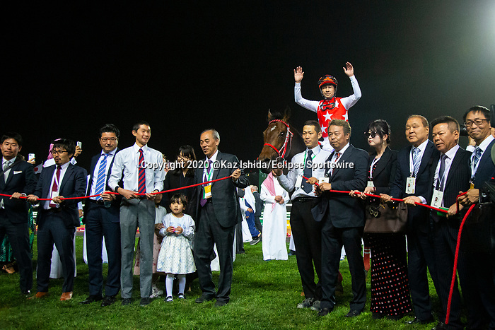 RIYADH,SAUDI ARABIA-FEB 29: Full Flat,ridden by Yutaka Take,wins the Saudi Derby at King Abdulaziz Racetrack on February 29,2020 in Riyadh,Saudi Arabia. Kaz Ishida/Eclipse Sportswire/CSM