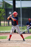 GCL Nationals third baseman Colton Pogue (10) at bat during a game against the GCL Astros on August 6, 2018 at FITTEAM Ballpark of the Palm Beaches in West Palm Beach, Florida.  GCL Astros defeated GCL Nationals 3-0.  (Mike Janes/Four Seam Images)
