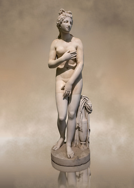 Statue of Aphrodite, a 2nd century Roman Copy. This sculpture depicts Aphrodite in the typical pose known as the Modest Aphrodite style or Dresden-Capitoline type and is a copy of a lost 4th century BC Aphrodite of Cnidos sculpture by Athenian sculpture Praxiteles. Inv 6283 - Farnese Collection. Naples National Archaeological Museum, Italy