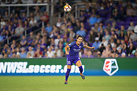 Orlando, FL - Saturday March 24, 2018: Orlando Pride defender Ali Krieger (11) heads the ball during a regular season National Women's Soccer League (NWSL) match between the Orlando Pride and the Utah Royals FC at Orlando City Stadium. The game ended in a 1-1 draw.