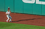 6 September 2014: Philadelphia Phillies outfielder Ben Revere pulls in a fly ball by the Washington Nationals at Nationals Park in Washington, DC. The Nationals fell to the Phillies 3-1 in the second game of their 3-game series. Mandatory Credit: Ed Wolfstein Photo *** RAW (NEF) Image File Available ***