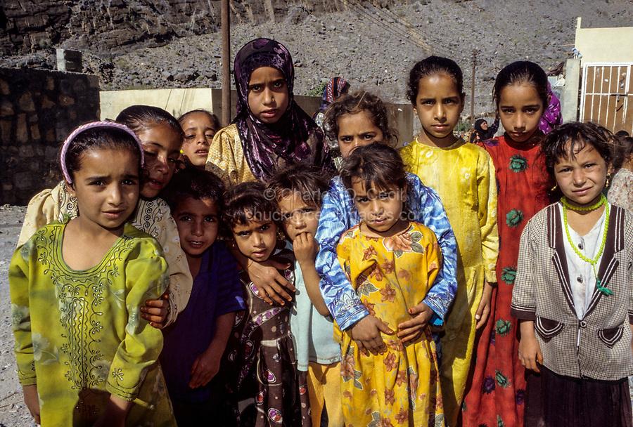 Wadi Ghul, Oman.  Young Girls of Nakhr Village.