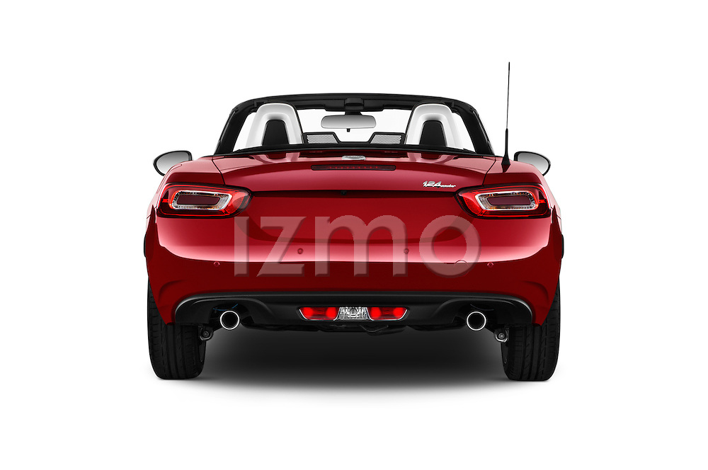 Straight rear view of 2016 Fiat 124-Spider Lusso 2 Door Convertible Rear View  stock images