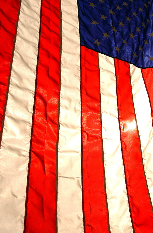4flag091801 -- An American Flags hangs out of a East Capitol Street rowhouse.